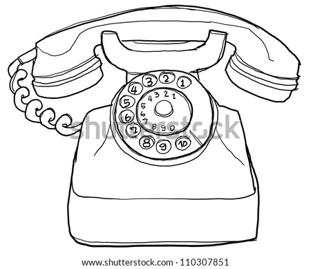 Vintage Phone Sketch Cartoon Hand Drawn Stock Photo 204419491