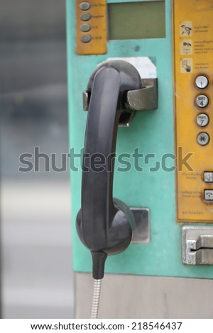 old telephone headset for technology background.