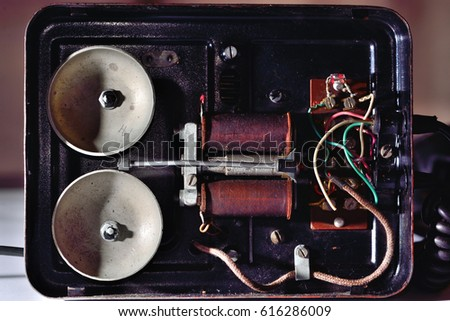 Old telephone inside view #616286009