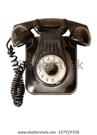Old telephone isolated