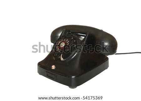 old telephone on white background