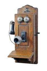 Old Telephone with hand crank isolated on white