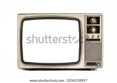 Old television isolated on white background,retro vintage tv style #1036318897