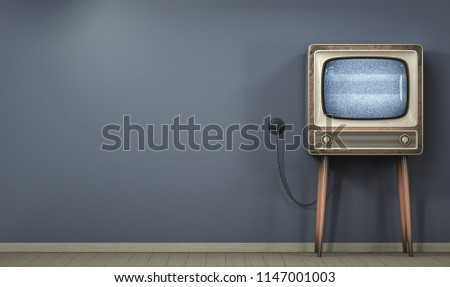 Old television on a dark wall background 3D illustration