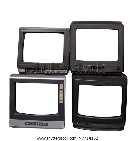 Old  televisions  isolated on a white background