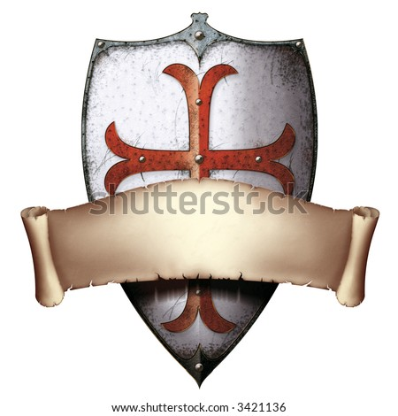Old templar shield with red cross and parchment banner