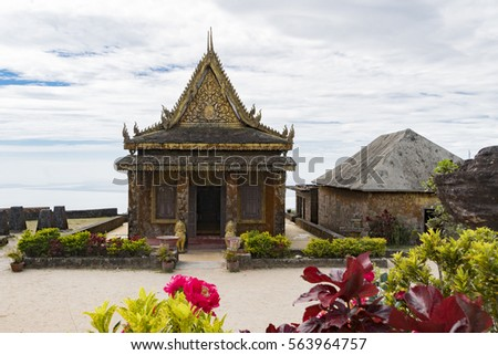 old temple on bokor hill in...