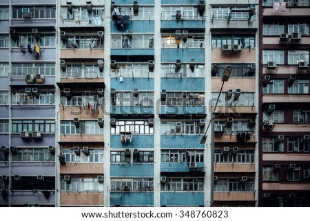 Old tenement buildings in Hong Kong