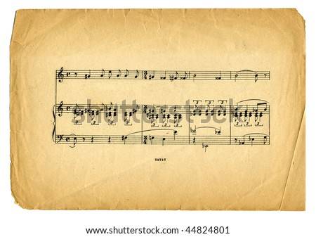 old textured music sheet  page on white background