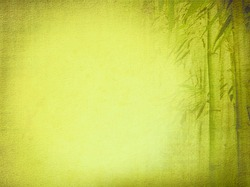 Old textured paper background with green bamboo. Asian design for zen culture tradition.