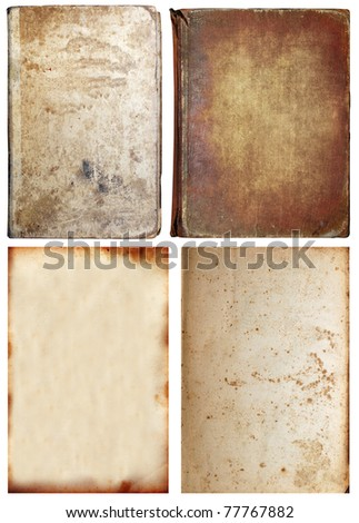 Old textures set isolated on white, paper and book