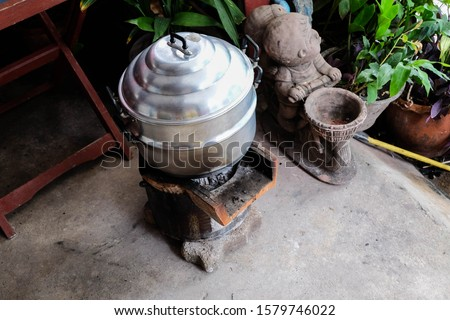 Old Thai cooking stoves and local pots #1579746022