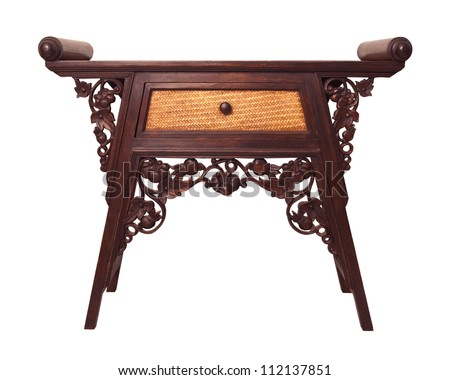 Old Thai Wood Furniture Desk Isolated White Stock Photo 112137851 Shutterstock