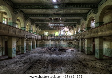 old theater inside decayed russian barracks in former eastern germany