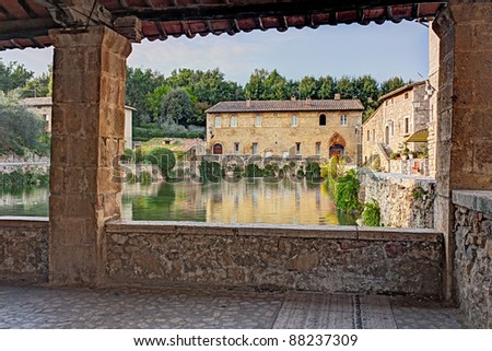 Old Thermal Baths In The Medieval Village Bagno Vignoni, Tuscany, Italy - Spa...