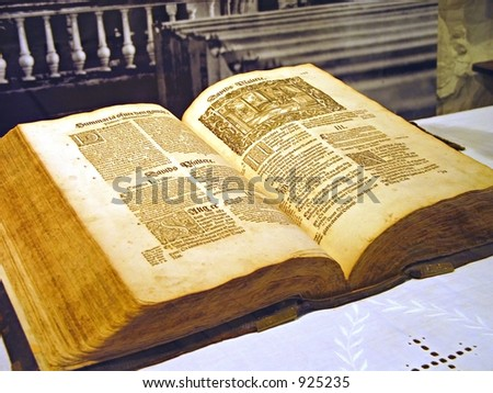 old thick book with gothic type