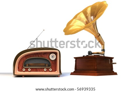 old things. 3D render of a retro styled radio   and gramophone