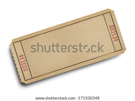 Old Ticket with Copy Space Isolated on White Background