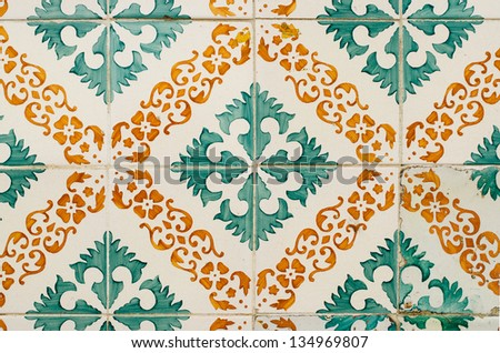 Old tiles detail abstract pattern.