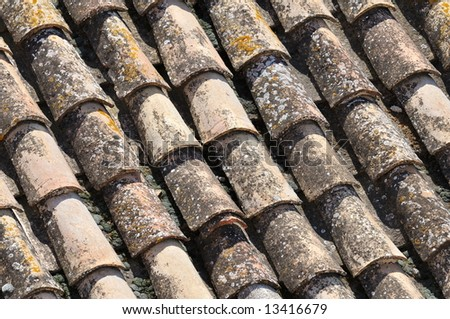 old tiles of a roof