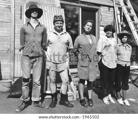old time farmer's families, humoristic picture in black and white