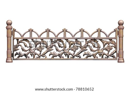 Old-time forged decorative  fence. Isolated over white background.