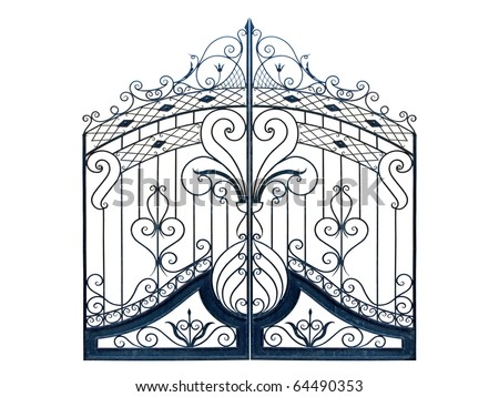 Old-time forged decorative gates. Isolated over white background.