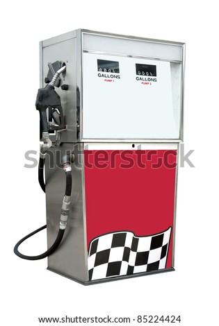 Old time gas pump for leaded and unleaded gasoline or petrol. Isolated on white with clipping path