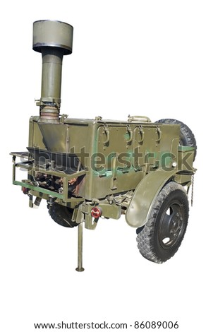 old time standart russian or soviet army military mobile field kitchen KP-125 over white background