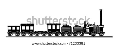old-time train on white background