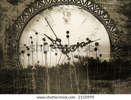 Old times - Antique clock face with abstract, organic foreground.