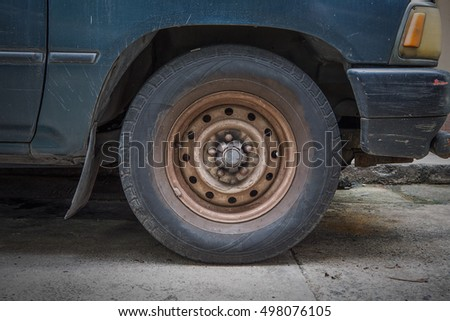 Old tire and wheel on truck