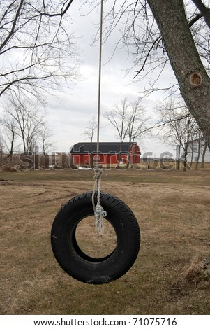 old tire swing in the country