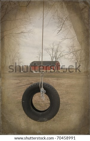 old tire swing with vintage overlay - stock photo