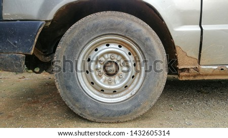 Old tires, old wheels, old cars, Closs up