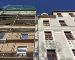 Old to new, Wilhelminian style old residential building, facades before and after renovation
