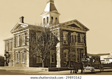Old Tombstone courthouse with an antique finish to look like yesteryear