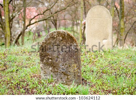 Old tombstone in jewish cemetery