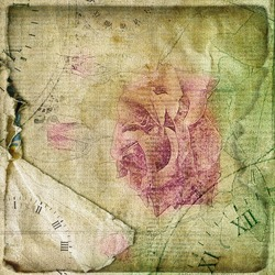 Old torn crumpled paper  with hand drawn rose. Vintage background for design
