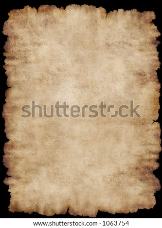 Old torn list of parchment, antique background