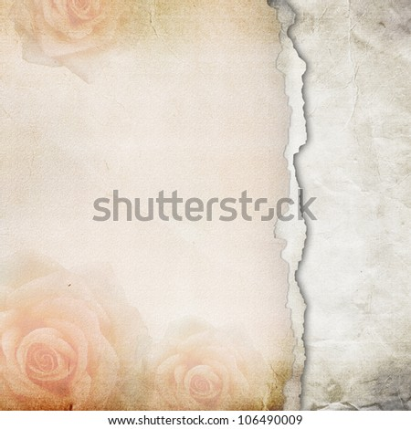 Old Torn Paper Background. Texture with a Roses (1 of set)