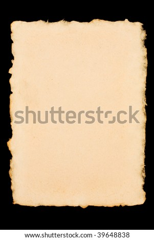 Old torn paper isolated on a black background
