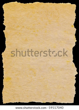 Old torn paper isolated on a black background.