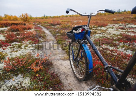 Old touring bike on the background of the tundra, Narian-Mar, Russia. Beautiful fall season.