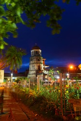 Old tower in a center of city of Dumaguete, Philippines