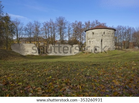 Old tower of 16-th century in Pskov, Russia #353260931