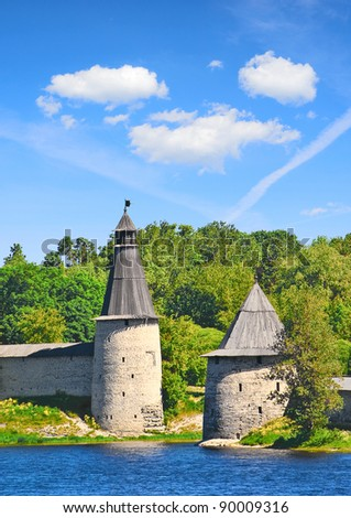 Old towers on the bank of the river Velikaya. City of Pskov. Russia