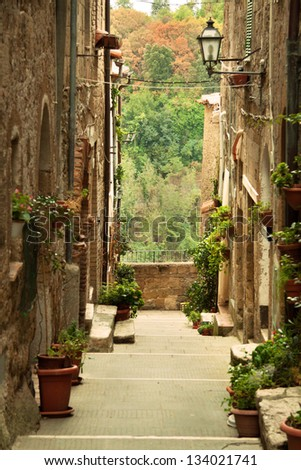 Old town alley in Tuscany, Italy