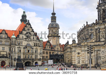 Old Town and fragment of Katholische Hofkirche, Dresden, Germany.