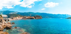 Old town Budva, Montenegro, oldest settlements citadel ancient walls near Balkan mountains and Adriatic Sea.